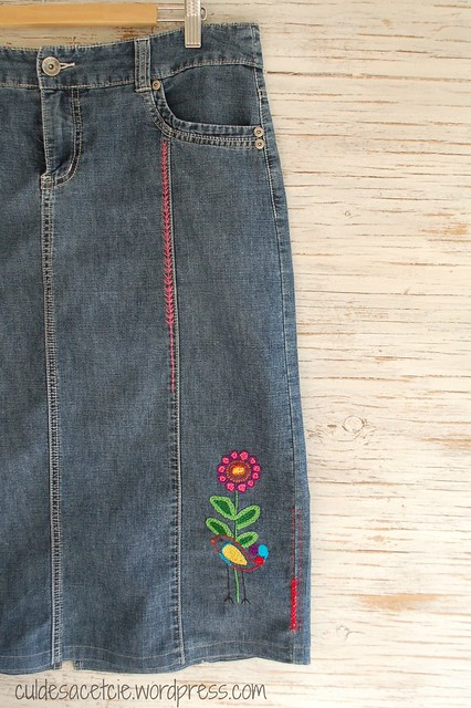 skirt refashion with hand embroidery