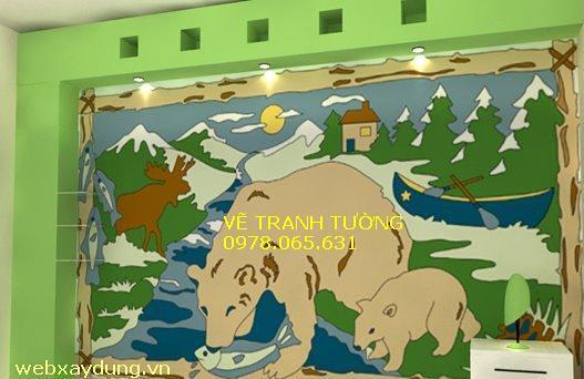 Vẽ tranh tường: mẫu tranh tường phòng trẻ em