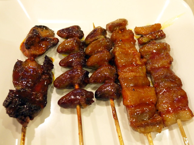 BBQ Republic- chicken liver, chicken heart, pork belly P25:stick