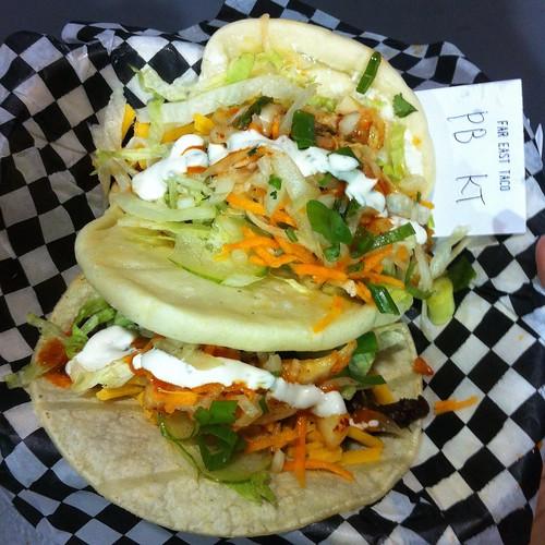 spicy pork & kimchi bao and kalbi taco