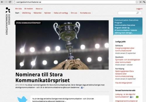 Sveriges Kommunikatörer webbplats