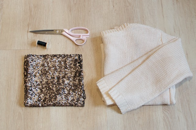 DIY SEQUIN ELBOW PATCH SWEATER 5