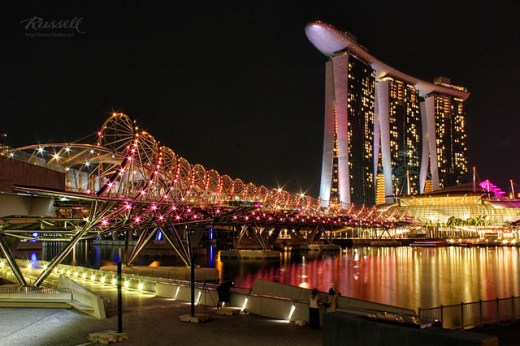 Singapore Night Shot: Bridge to Marina Bay Sands