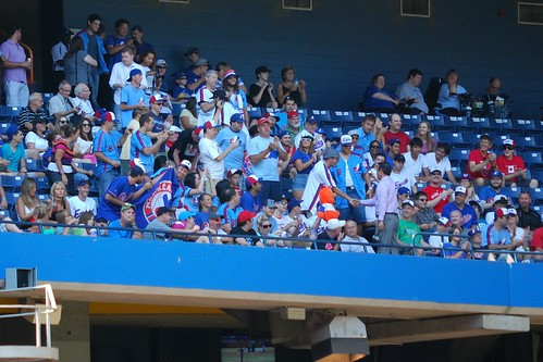 Fans of the Montreal Expos join at the Rogers Centre.