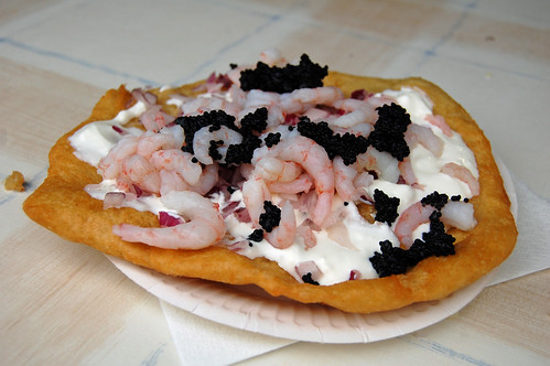 Langos with Sour Cream, Onion, Shrimps and Caviar