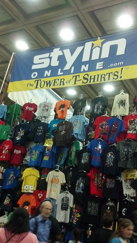 Tower of T-Shirts at Baltimore Comic-Con 2012