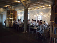 Staff tucking in to lunch..