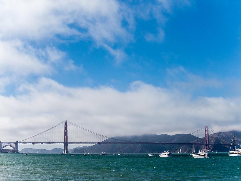 Golden Gate Bridge before the start Blue Angels Air Show