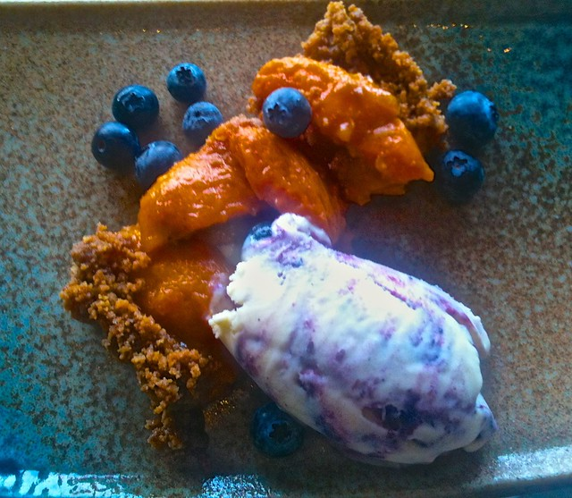 Apricot tart with blueberry ice cream - Slanted Door
