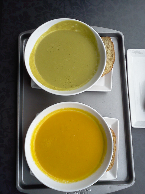 zucchini soup, ginger carrot soup