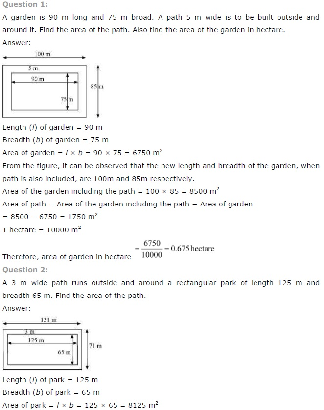 NCERT Solutions for Class 7th Maths Chapter 11 Perimeter and Area Exercise 11.4