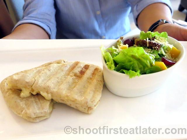 quattro formaggio wrap with salad P200