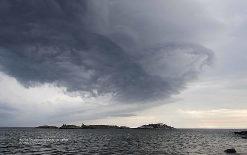 Storm Clouds over Picnic Rocks in Marquette, MI Labor Day 2012