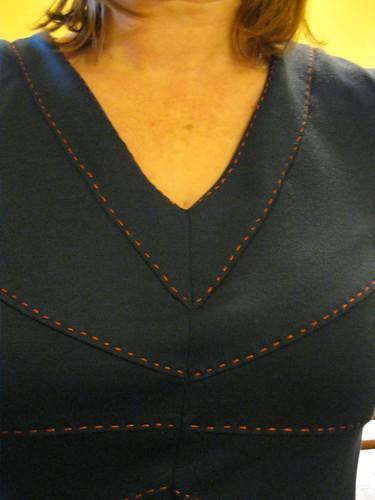 Butterick 5676 - running stitch detail