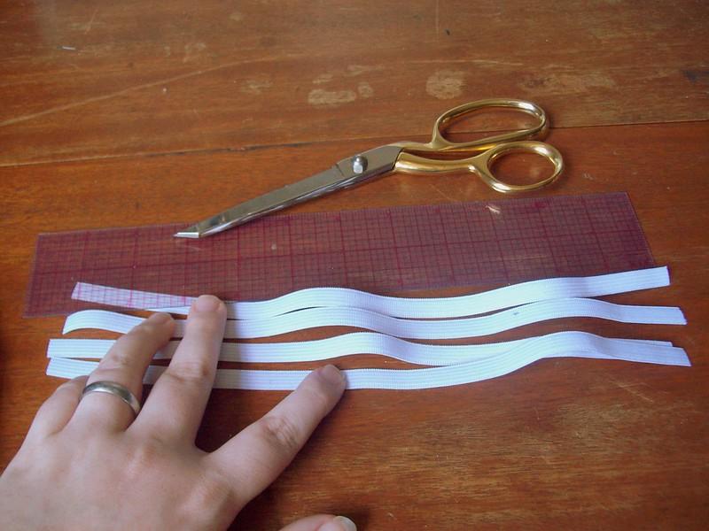 """cut 4 - 12"""" pieces of elastic"""