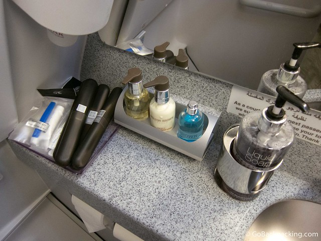 Amenities in the business class bathroom