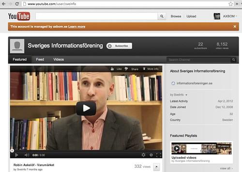 Sveriges informationsförening på YouTube
