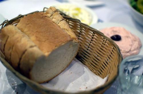 Bread, tzatziki, tarama