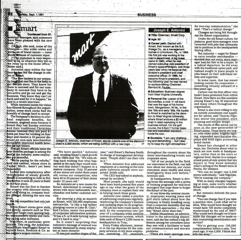KMart's Comeback, 9/1/91 Daily Press
