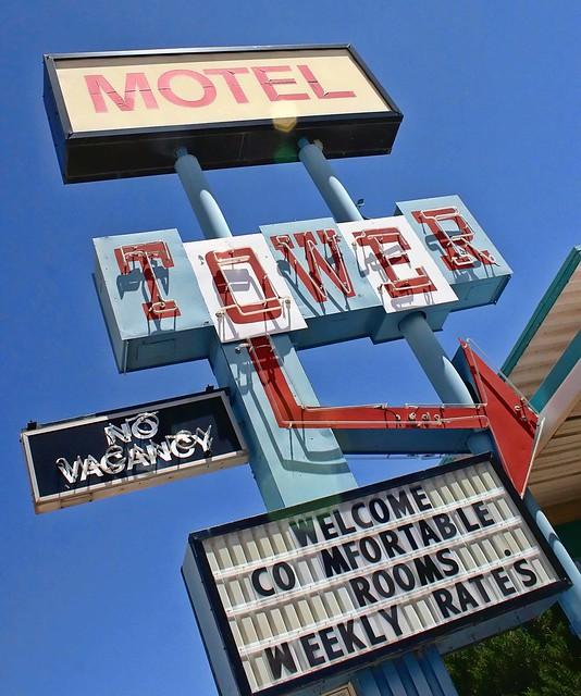 Tower Motel sign, Route 66, Santa Rosa New Mexico