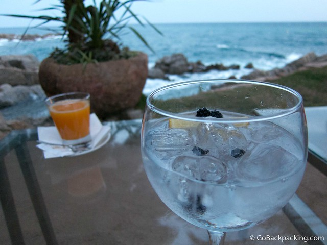 Gin and tonic with juniper berries