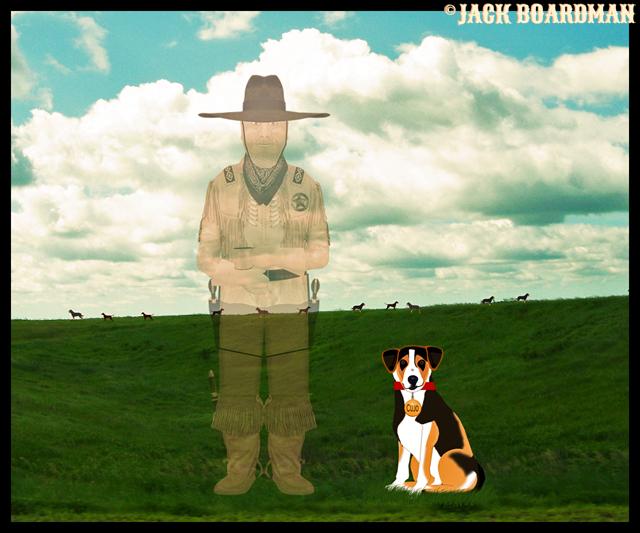 Cujo surprised to find Boomer in the Great Beyond ©2012 Jack Boardman