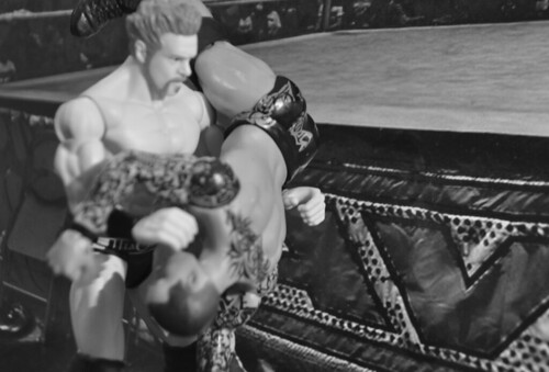 Sheamus vs. Randy Orton (black and white)
