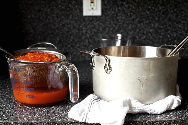 a hearty tomato soup's elegant leavings