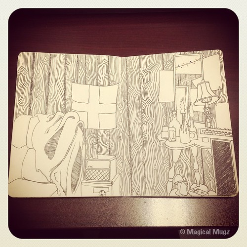 The Sketchbook Project 2013 - Corner of Maggie's Room with Mirror - Complete!