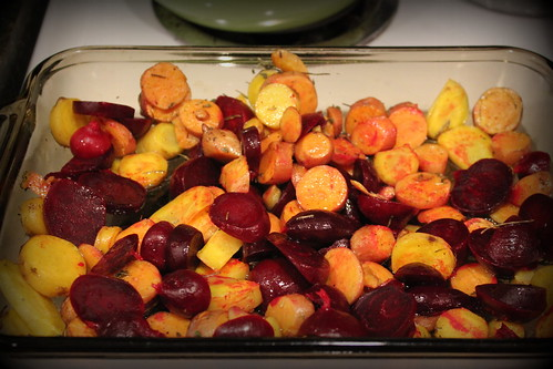 20121005. Beets, sweet potatoes, and yellow carrots, all from the garden.