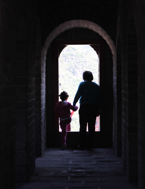 Mother and child in the Great wall of China (JuYong Pass)