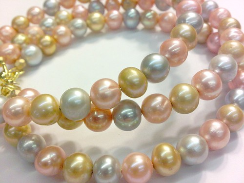 Pastel Freshwater Pearl Bangle Trio