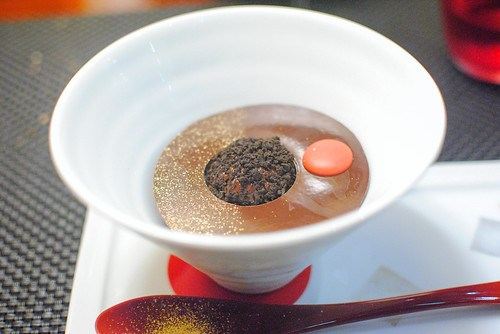La Tendance Chocolat araguani chocolate ganache served with a cocoa sherbet covered with bitter biscuit powder