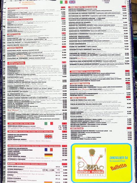 Pizzeria Dal Paino's menu