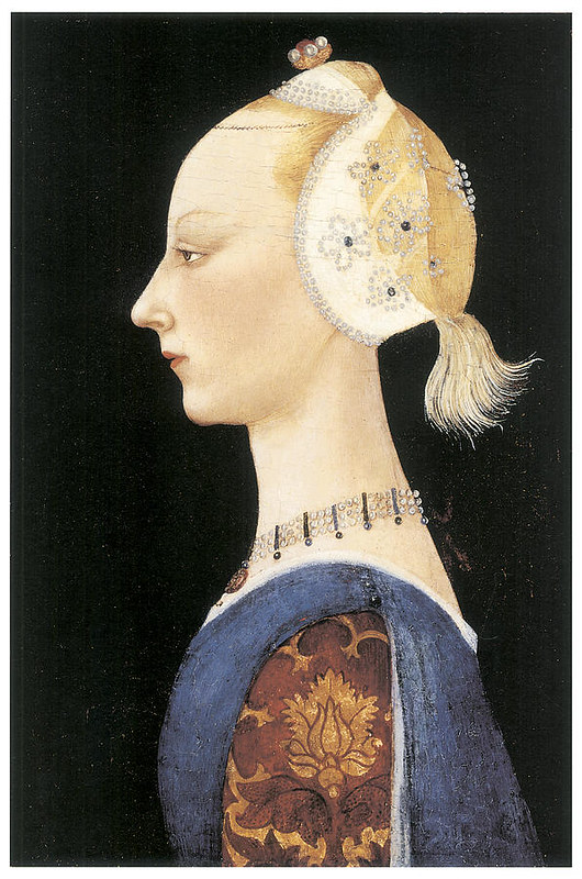 Fashion tortures during Renaissance. (Portrait of a young lady by Paolo Uccello)