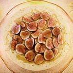 Frozen Hazelnut Saffron Lemon Yogurt Cake with Honey Drizzled Figs