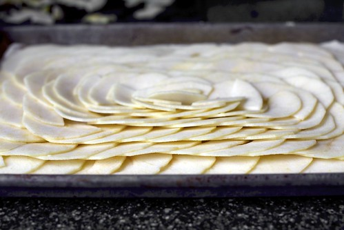 apple slices, all fanned and pretty
