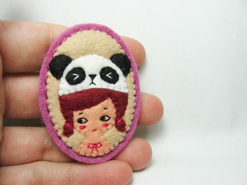 Mr Panda and Girl felt brooch