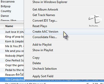 คลิ๊กขวาที่ชื่อเพลงแล้วเลือก Create AAC Version
