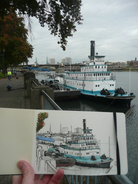 sketching by the willamette, portland