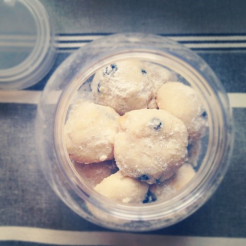 Blueberry macadamia snowball cookies