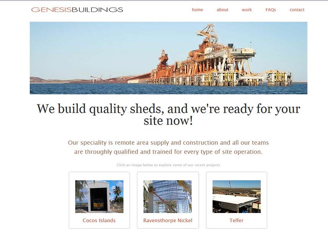 My  Cape Lambert jetty image used in the banner for a outback construction company...