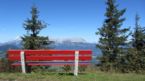 red bench, blue view