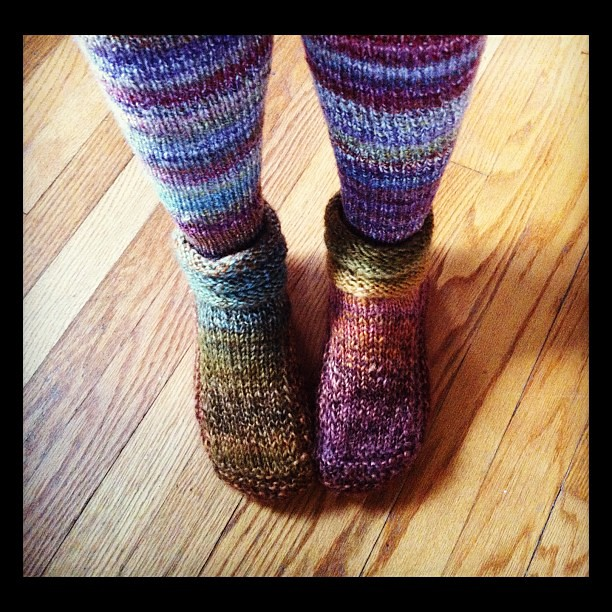 Handknit handspun socks+slippers