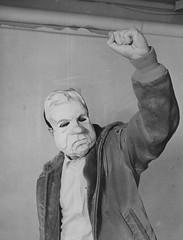 Antiwar Protestor With Nixon Mask: Counter-Inaugural 1969