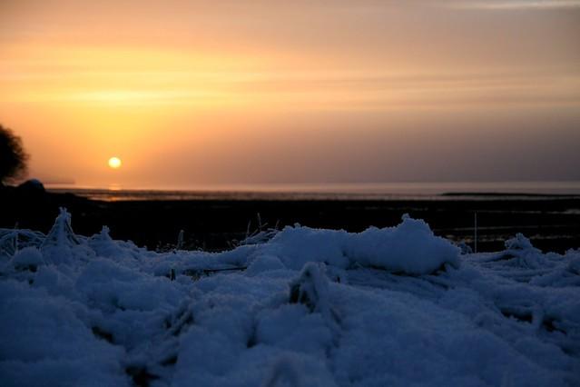 sunset, winter, & the sea