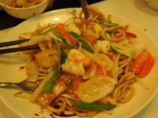 Mixed seafood on fried udon noodles