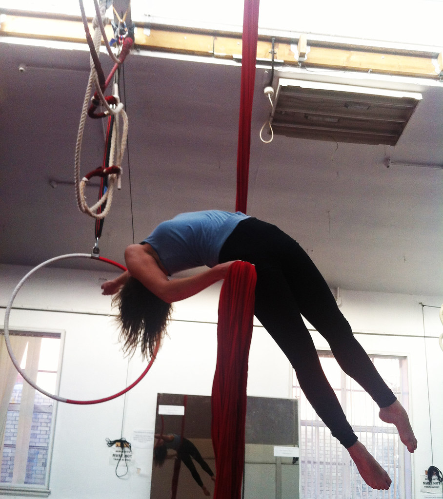 back balance on aerial silks