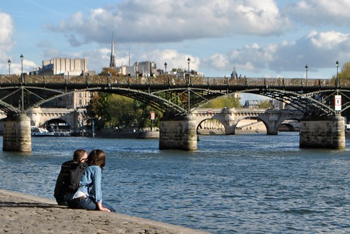 Paris - Couple hanging by the Seine