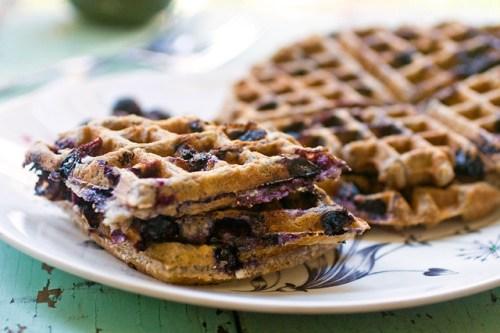 Vegan Breakfast Ideas... Blueberry Oatmeal Waffles